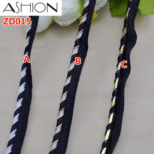 Width 1cm black white and gold silver inlaid lash polyester ribbon lace Braided rope curtain accessories 10 meters ZD015