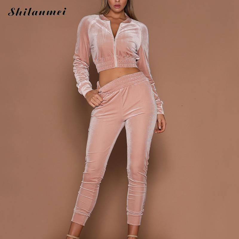 Velvet Two Piece Set Tracksuit For Women Elegant Top And Pants Set 2018 Womens Casual Sweat Suits Leisure Autumn Outfits Pink
