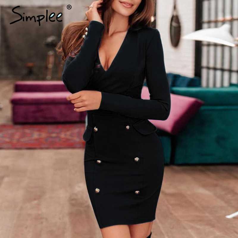 Simplee Сексуальное Женское офисное платье с v-образным вырезом, двубортное черное облегающее платье с длинным рукавом, элегантные вечерние женские тонкие платья 2019