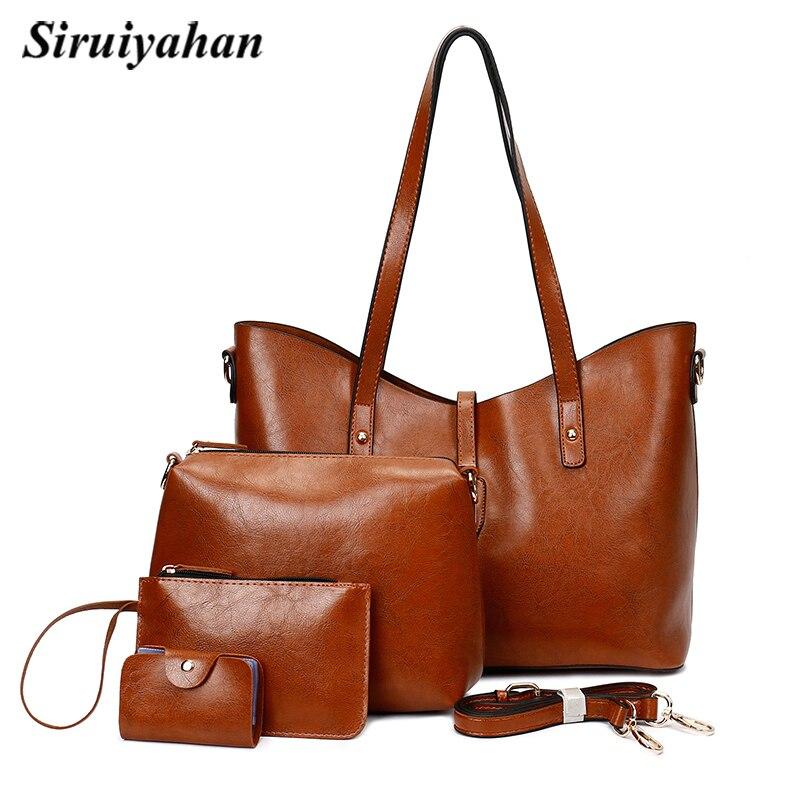 Siruiyahan Bag Female Shoulder Bags Solid Soft 3 Pieces Set Composite Bag Women Leather Handbags Women Famous Brands faux leather minimalist practical 3 pieces tote bag set page 3