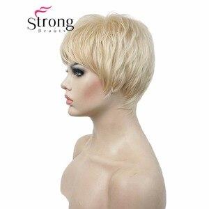 Image 4 - Strongbeauty 슈퍼 짧은 레이어드 및 spikey 금발 전체 합성 가발 가발 블랙 브라운 색상 선택