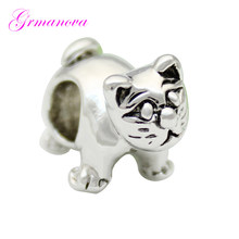 Cute fat cat European charm beads 수 제 DIY jewelry 만들기 액세서리 부적 딘 Fit Pandora Bracelet 목걸이(China)