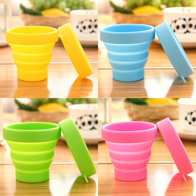 Outdoor Camping Tableware Cups Silicone Retractable Folding Water Cup Travel Telescopic Collapsible Cups Camping Equipment