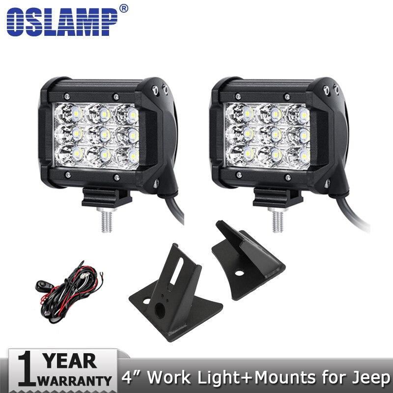 Oslamp 2pcs 4 36W Spot Flood Beam LED Work Light Headlight Driving Work Lamp 12v 24v+Mount Brackets for Jeep Wrangler 2007-2015Oslamp 2pcs 4 36W Spot Flood Beam LED Work Light Headlight Driving Work Lamp 12v 24v+Mount Brackets for Jeep Wrangler 2007-2015