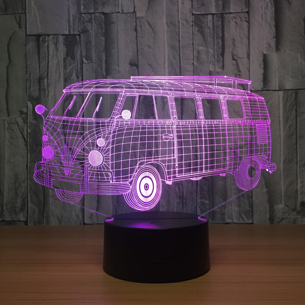 Camping Bus 3d Visual Illusion LED Lamp Transparent Acrylic Night Light Led Lampa 7 Color Changing Touch Table Bulbing Room Lamp