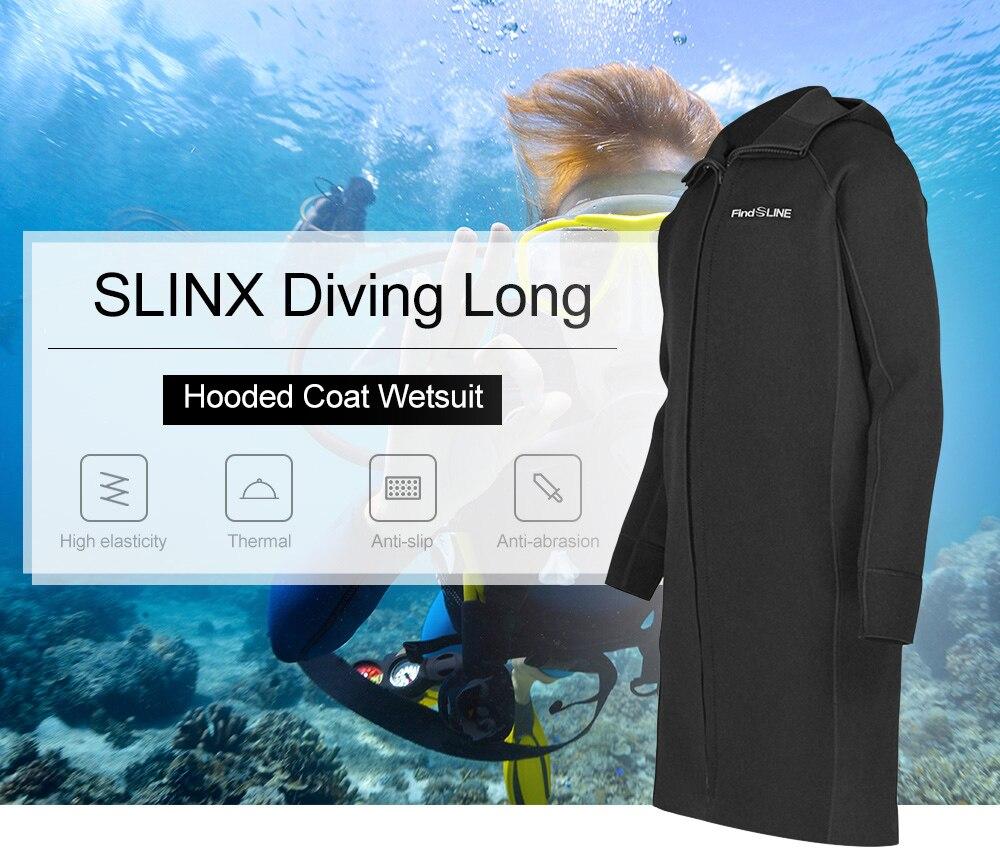 SLINX hombres de 3mm de largo de la rodilla-longitud de buceo abrigo protector solar de buceo neopreno largo Abrigo con capucha traje de secado rápido de buceo chaqueta