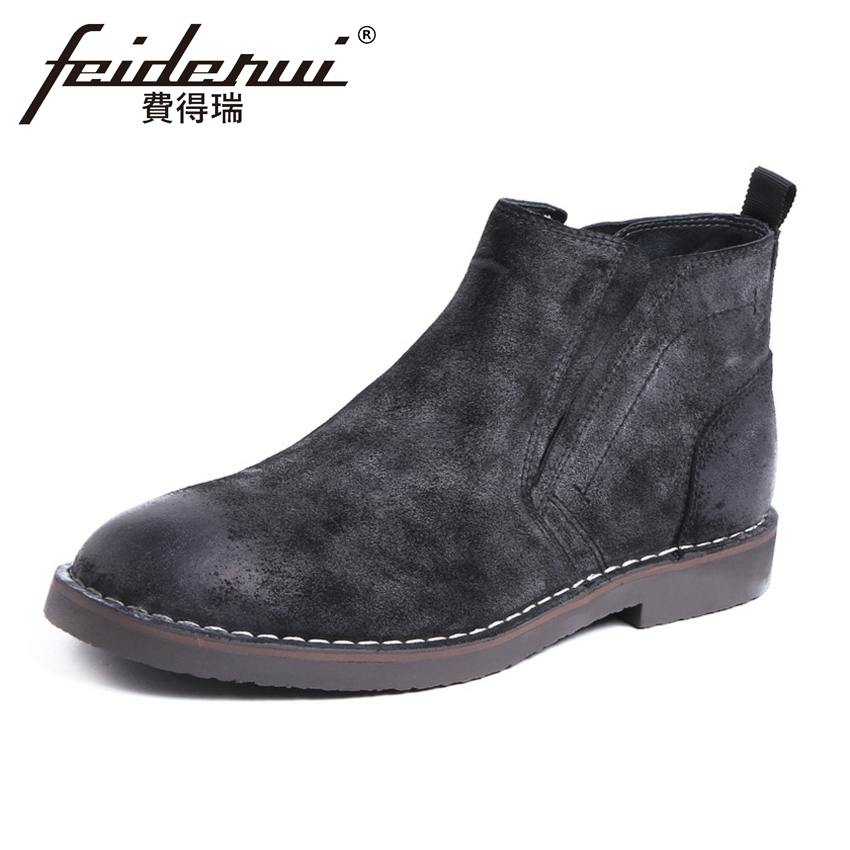 British Designer Cow Suede Leather Mens Ankle Boots Round Toe Platform Martin Cowboy Man Formal Dress Outdoor Shoes YMX446