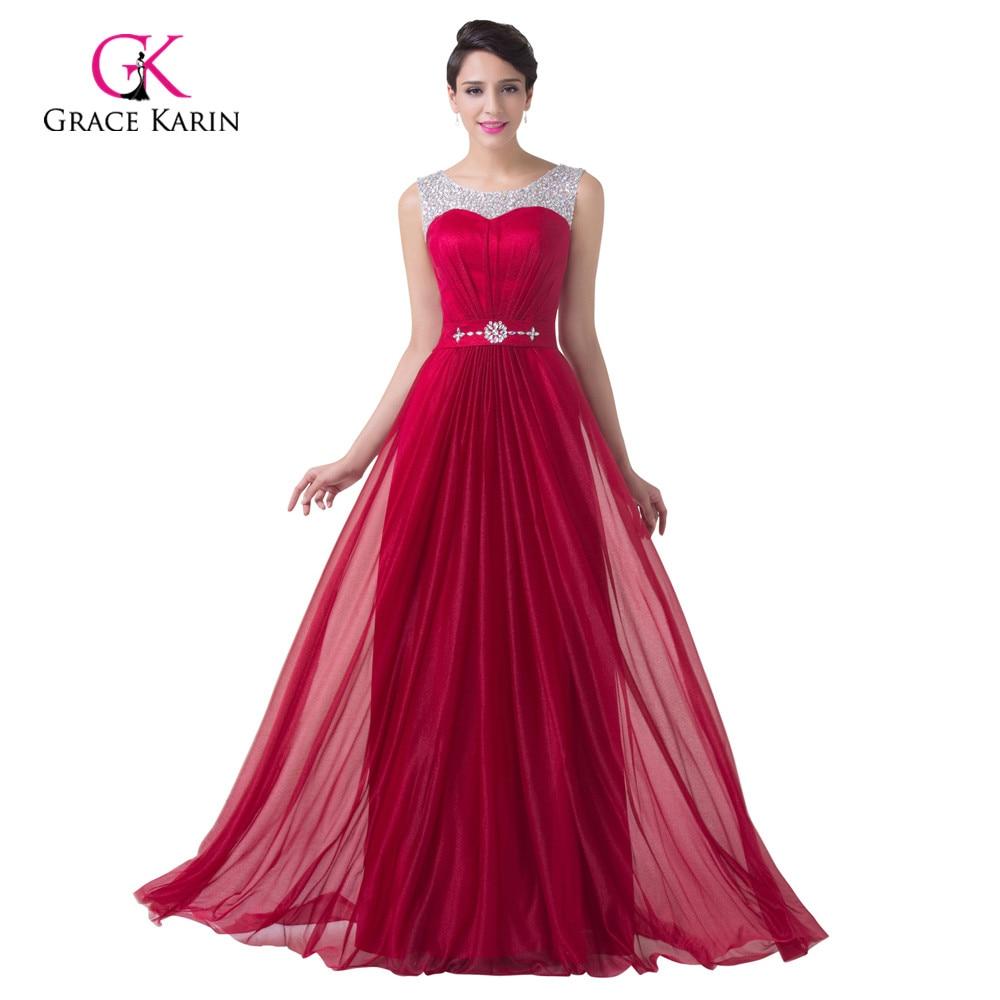 ✅Evening Dresses Grace Karin burgundy Korean Crystal 2018 New ...