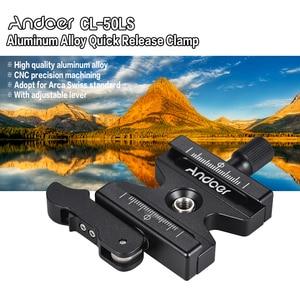 """Image 5 - Andoer CL 50LS Quick Release Braçadeira w/Lever Knob Tipo Ajustável 1/4 """"& 3/8"""" Buraco Do Parafuso Compatível para Arca Swiss Padrão"""