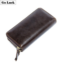 Long Business Wristband Clutches Wallets Men Genuine Leather Double Layers Zipper Cash Cell Phone Wallet Men's Cardholder Purse
