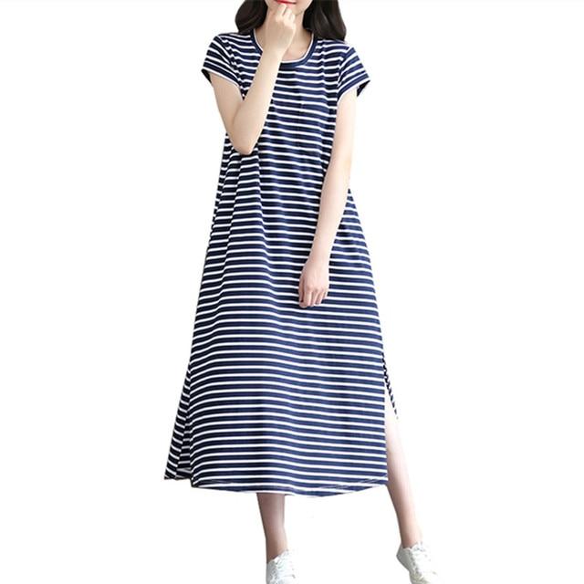 Femmes Jersey Maxi D'été Rayé Douce Chemise De Fille Mode Robe Femelle Occasionnel Robes Femme Coton Longue Imprimer n8wOPk0
