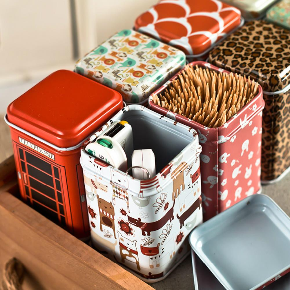New Cute Diy Gift 5pcs Vintage Past Iron Toothpick Box Candy Can Coffee Sealed Canister Tea Jar Sundries Storage Organizer In Bottles Jars
