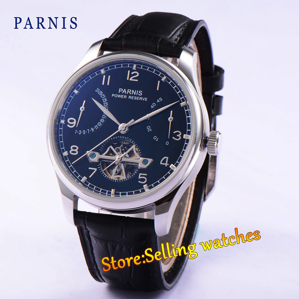 43mm parnis black dial power reserve black strap automatic mens watch hot sale 46mm parnis black dial power reserve white marks automatic men wrist watch