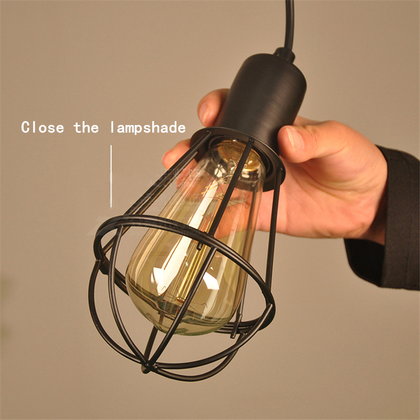 Hohe qualität Jahrgang Industrielle Edison Hängen Licht Eisen Meta ...