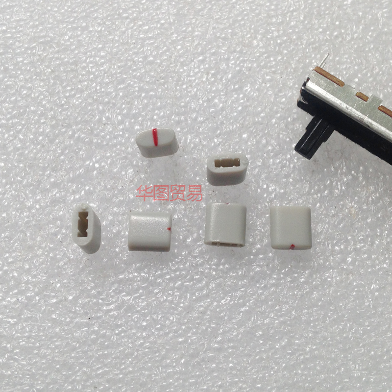 10pcs Equalizer Potentiometer Fader Cap / Hole 4MM Gray Red / Plastic Handle Straight Potentiometer Fader Knob Cap
