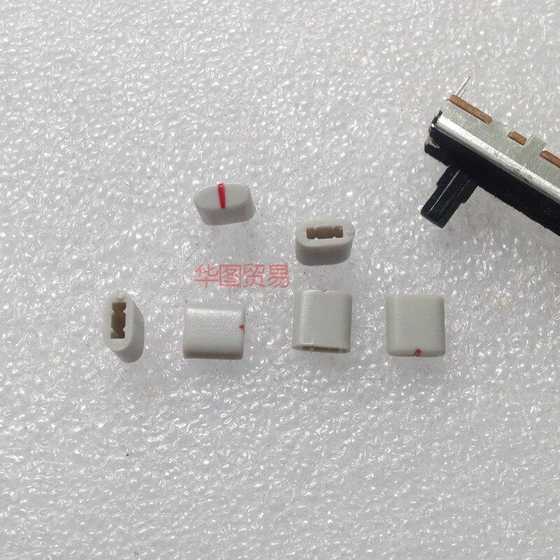 10pcs Equalizer Potentiometer Fader Cap / Hole 4MM Gray Red / Plastic Handle Straight Potentiometer Fader Knob Cap