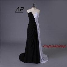 Женское длинное вечернее платье, черно белое шифоновое платье с разрезом спереди, лето 2020