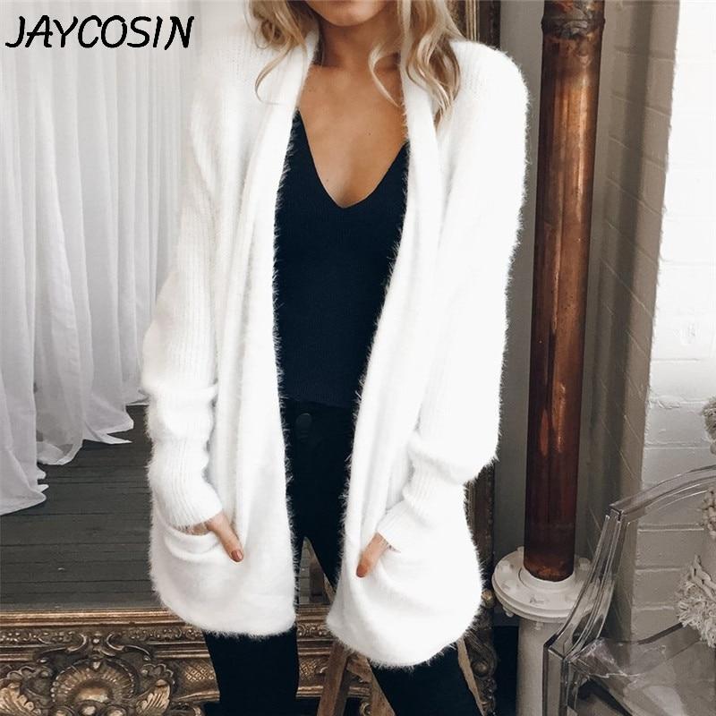 JAYCOSIN Women Sweaters 2019 Autumn Winter Casual Solid White Long Sleeve Knitted Sweater Pocket Coat Cardigan Sweater Coat Jy23