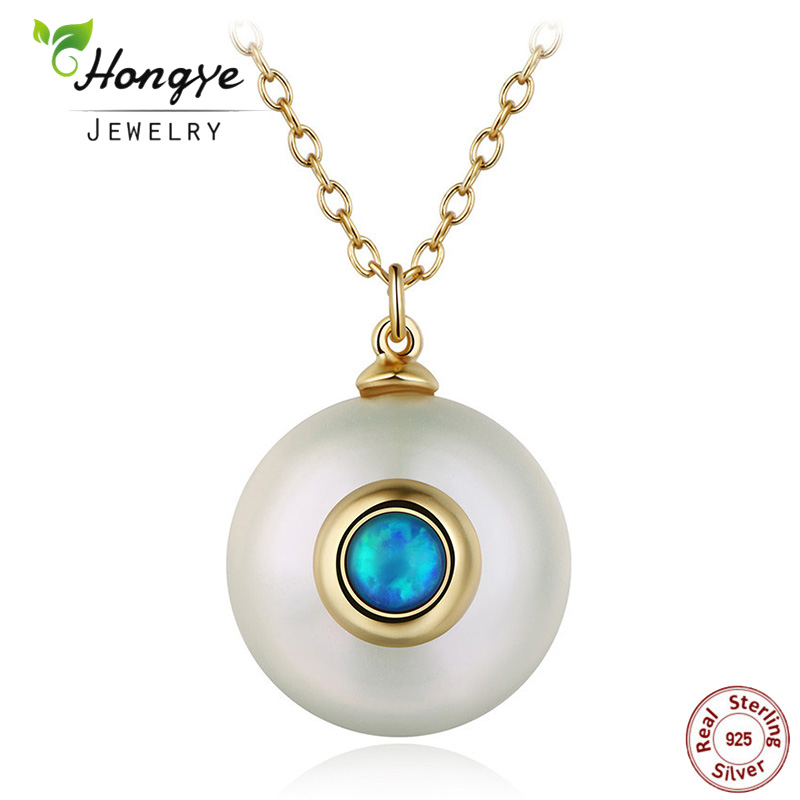 Hongye 2020 New Fashion Freshwater Pearl Necklace Women 925 Sterling Silver Chain 12mm Pearl Pendant  Jewelry Necklace For Gift