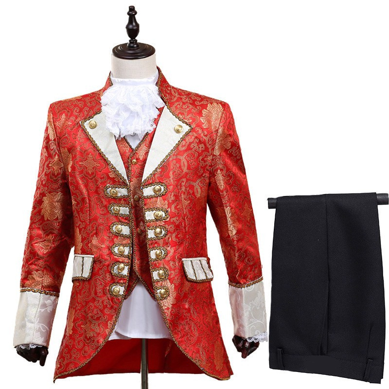 Loldeal Men's 5 Piece Casual Dress Suit Slim Fit Stylish Blazer Coats Jackets & Vest & Tro Palace Court Prince Costume