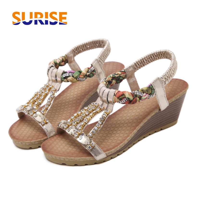 Casual Bohemia Women Sandals Platform High Wedge Heel Rhinestone String Slip On Glitter Leather Plaited Summer Silver Lady Shoes