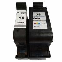 Vilaxh 2pcs For HP 15 78 compatible black Ink Cartridge for hp15 78 C6615A 6578D Deskjet 1000 1100c 3810 3816 3820 3822 810