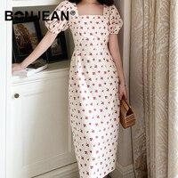 Summer Long Dress Elegant Jurken Cherry Print Square Neck Robe Longue Femme Retro Robe Vintage Dress Women Sukienki Z215