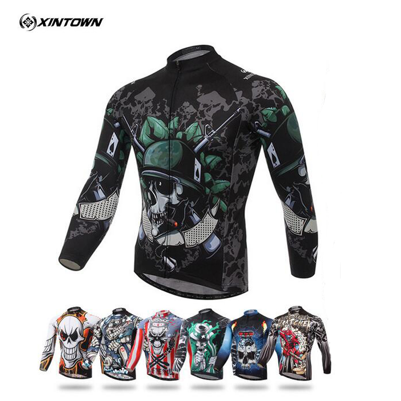 2017 XINTOWN Mens Team Skeleton Long Sleeve T-shirt Bike Bicycle Riding Cycling Jersey Top