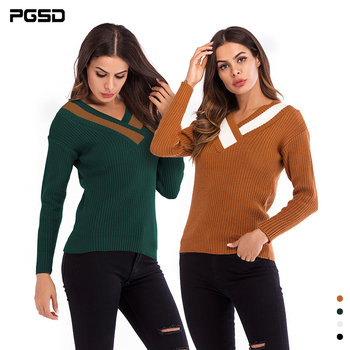 PGSD Autumn Winter Simple fashion Women Clothes Coloured long sleeved cross-V-neck knitted sweater loose slim Pullover female sweater women autumn and cardigan women winter v neck knitted long sleeved slim fitting tight warm shirt pullover turtleneck