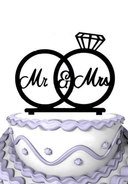 Mr Mrs Silhouette Wedding Rings Cake Topper Engagement Rings Cake