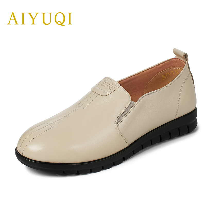 Big size 41#42#43# women shoe 2018 new spring genuine leather women's flats shoes casual comfort middle-aged mom shoes female aiyuqi plus size 41 42 43 women s flat shoes 2018 spring new genuine leather women shoes soft surface mom shoes women