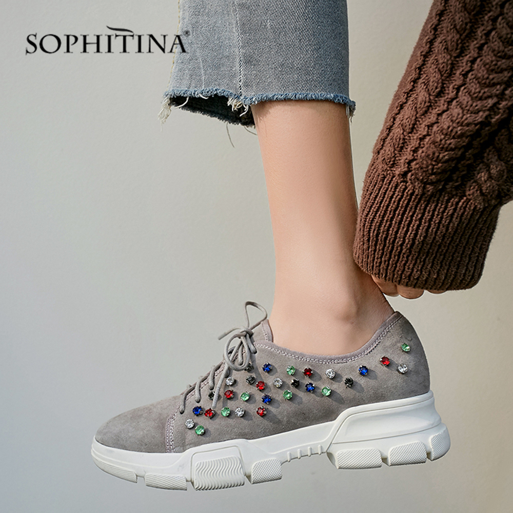 SOPHITINA Hot Sale Flats Platform Fashion High Quality Kid Suede Shoes Round Toe Crystal Lace up
