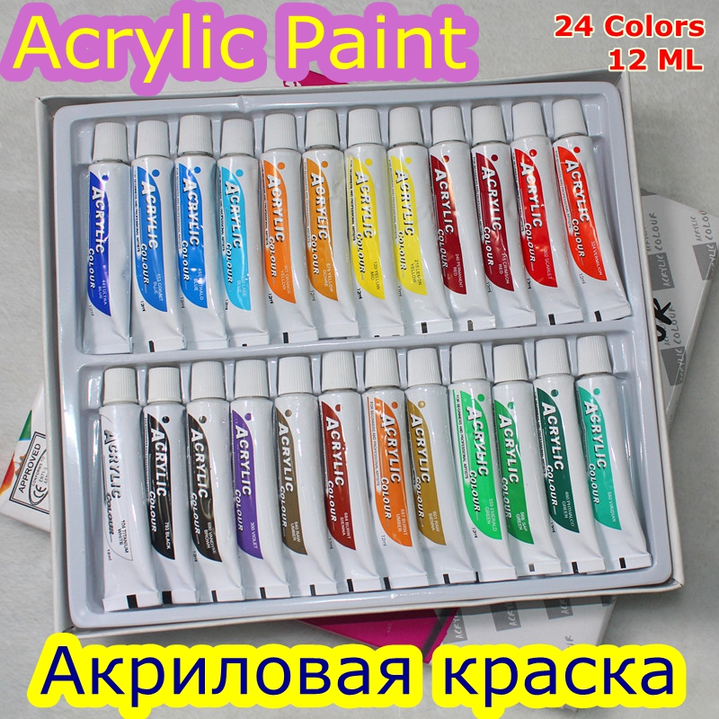 24 Colors 12ML Tube Acrylic Paint Set Color Nail Glass Art Painting Water Resistant Paint for Fabric Drawing Tools For Kids DIY