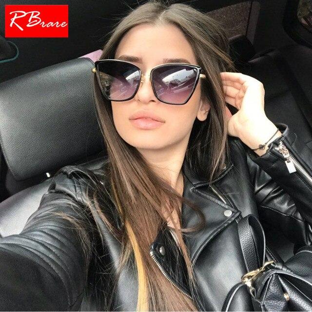 RBRARE Liga Olho de Gato Óculos De Sol Das Mulheres Lente Gradiente Óculos de Sol Do Metal Do Vintage Oculos Feminino Viagens de Condução Gafas de sol