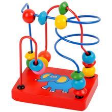 Kids Educational Montessori Wooden Elephant Wire Maze Around Beads Math Toys Baby Children Developmental Learning Game Blocks стоимость