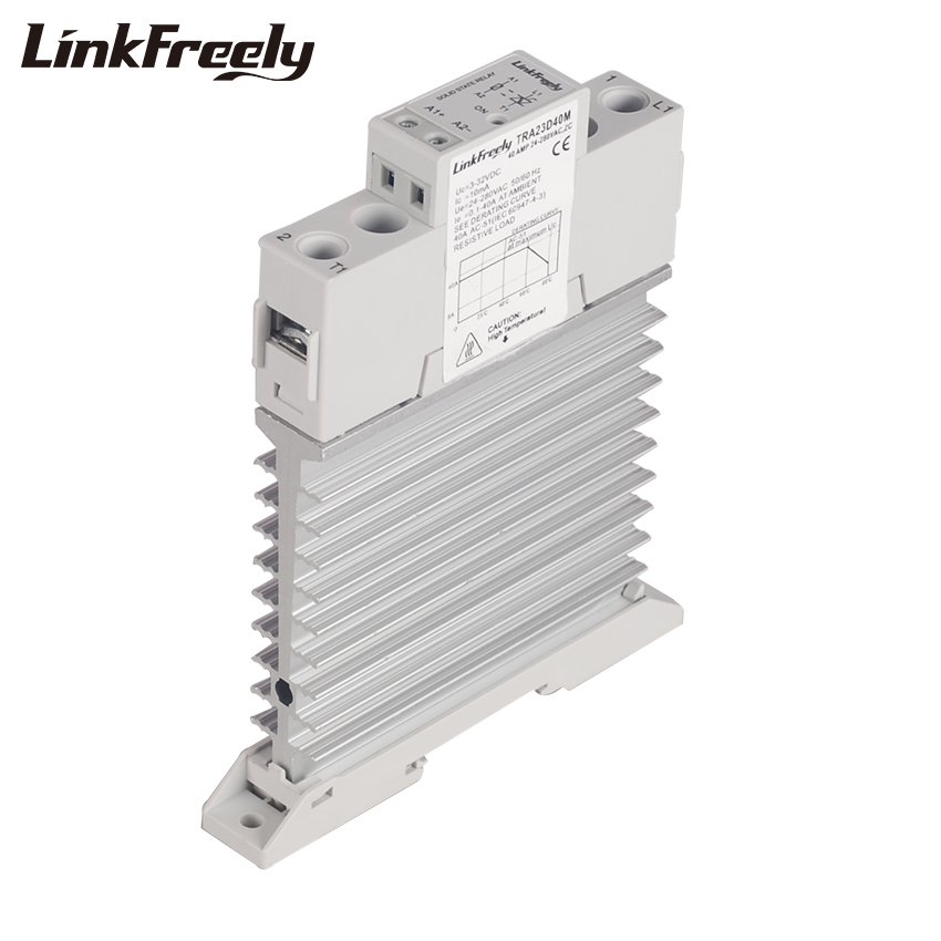 TRA23D40M Intelligent Auto Integrated SSR 40A DC To AC Ouput 24-280VAC Single Phase DIN Rail Solid State Relay 5V12V 24V DC