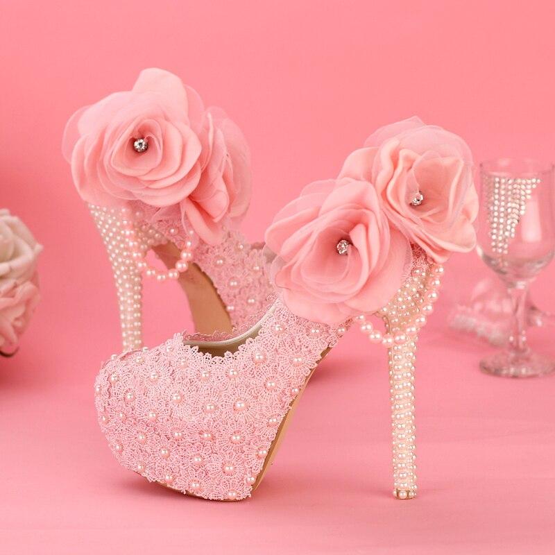 Pink Heels For Wedding: Aliexpress.com : Buy Sweet Pink Lace Flower Pearl Wedding