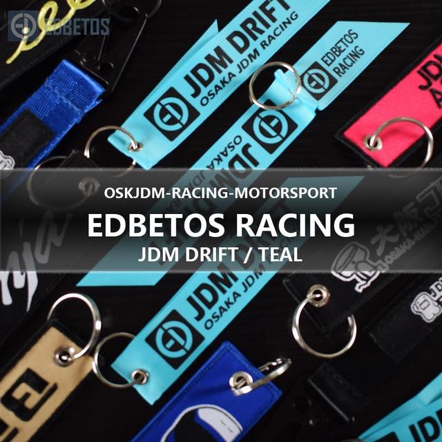 EDBETOS RACING Jdm deriva llavero para Osaka Jdm Kanjo rendimiento Motor Teal etiquetas clave Graffiti cordones