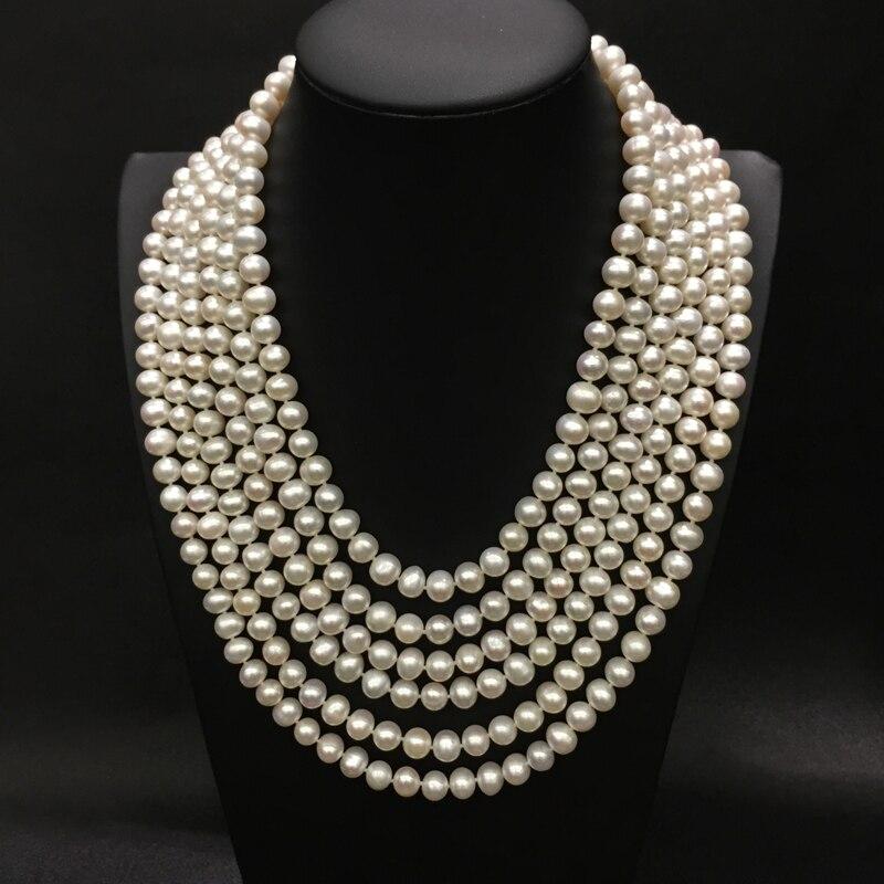 8-9 MM naturl collier de perles d'eau douce 6 couches collier de mariage classique nearround fine femmes bijoux livraison gratuite