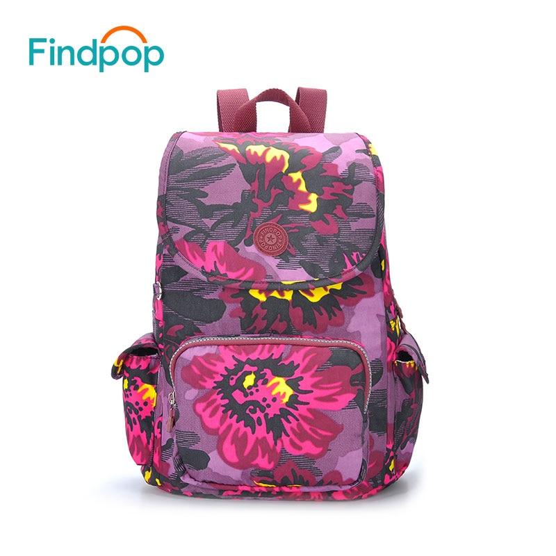 Findpop Brand Flowers Printed Canvas Backpacks Women Casual Floral Backpack 2018 Multi Color Large Capacity Waterproof Backpacks casual floral printed neck tie