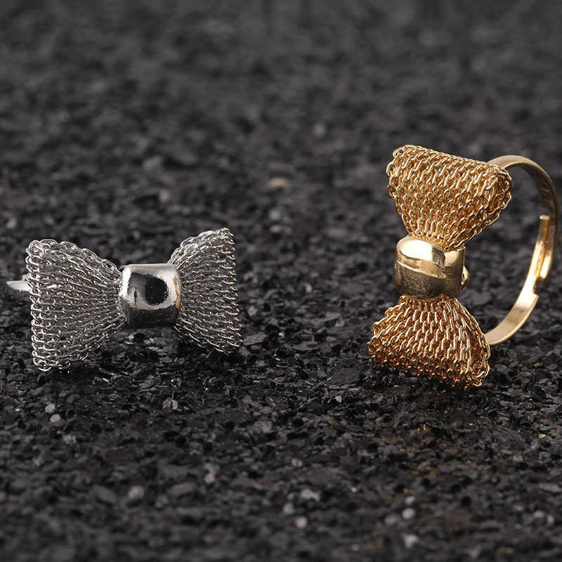 2016 New Fashion Wholesale Jewelry  Gold  Colour   Hollow Bowknot Rings For Women nj21