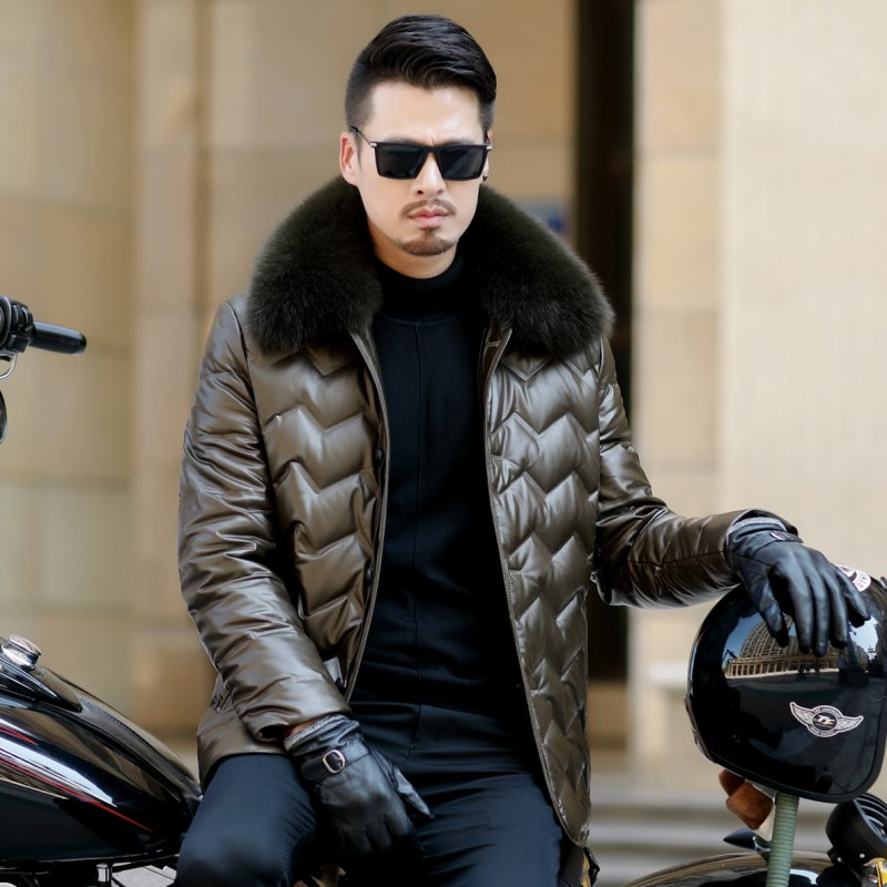 HTB15gfQXdfvK1RjSspfq6zzXFXaG Jaqueta Couro Sale Men Engine Leather Parka Winter Down Jacket 2018 New Middle-aged Sheep Coats Large Size Outerwear Male No520