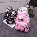 Grace Ladies Backpack Travel PU Leather Floral Butterfly Print Rucksack Shoulder School Bag Black Pink White