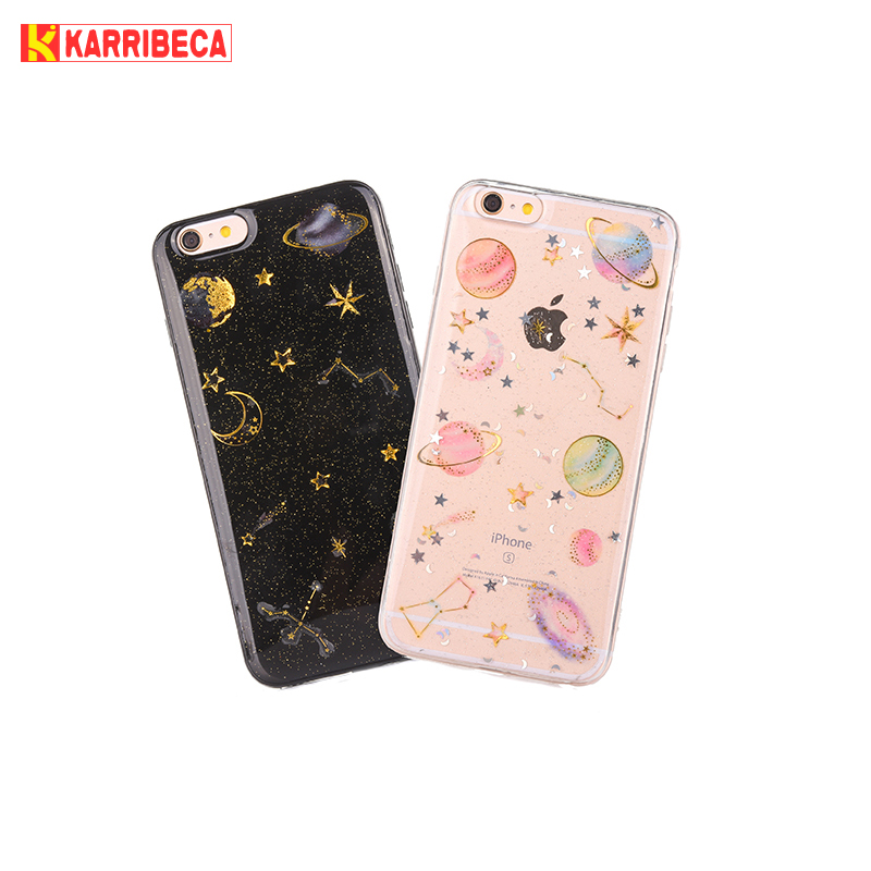 Planet star silicone case for iphone 6 s 7 8 plus funda hoesje Cute glitter shining cover for iphone X 10 coque etui kryt tok