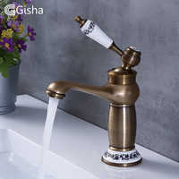 Gisha Bathroom Sink Basin Faucets Contemporary Antique Brass Faucet Mixer Water Tap Rotate Single Handle Hot And Cold Crane