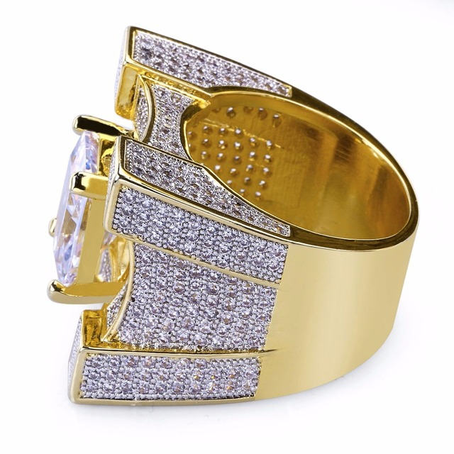 AAA Cubic Zirconia Ice Out Bling Golden Big Wide Hip Hop Rings Gold Color Geometric Men Hiphop Rapper CZ Ring Jewelry