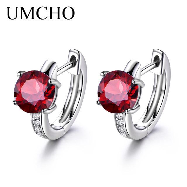UMCHO Natural Red Garnet Clip Earrings tor Women Real 925 Sterling Silver Earrings Gemstone Clip Earrings Wedding Party Gift