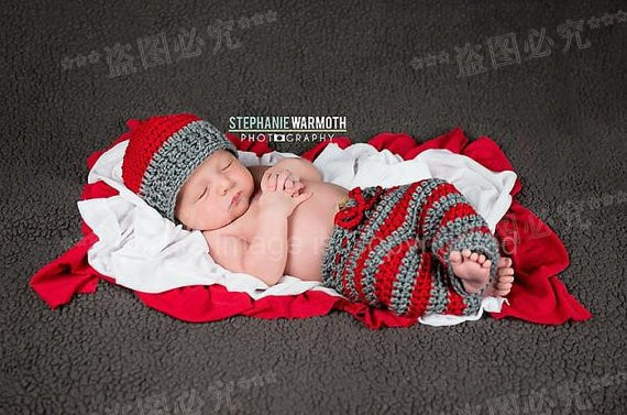 Free shipping,baby Boy Hat and Pants set,Red and grey crochet pants, Newborn Photography prop