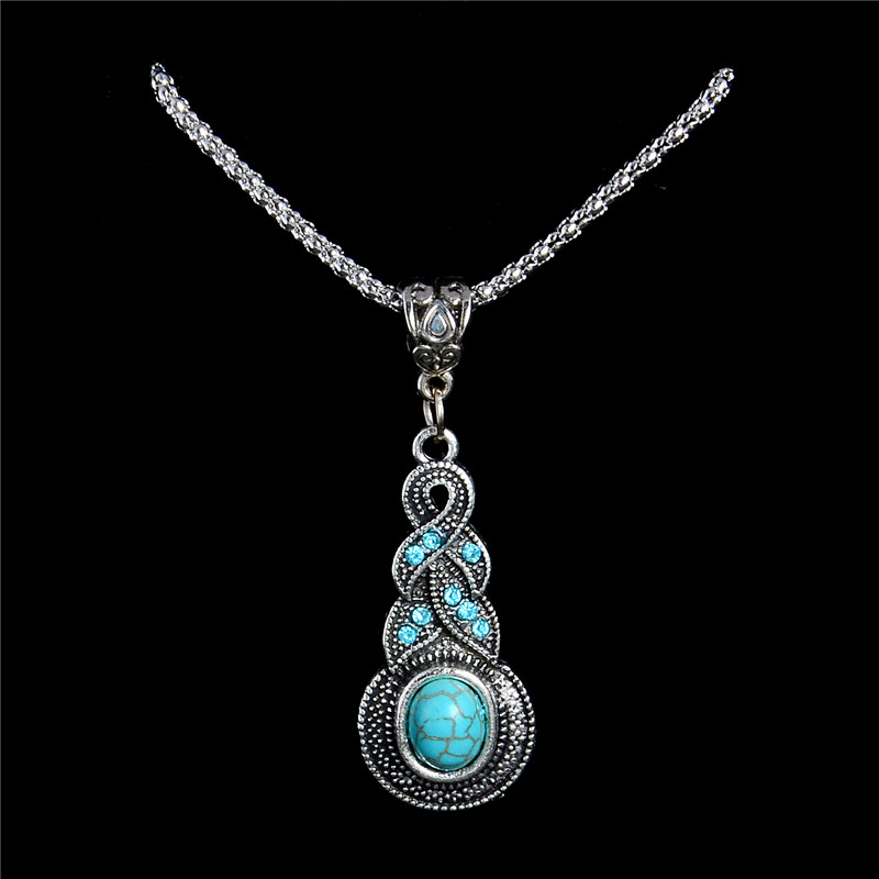H:HYDE Newest design Bohemia Natural Stone Stone Sweater Necklace Women Pendant Gift collares mujer
