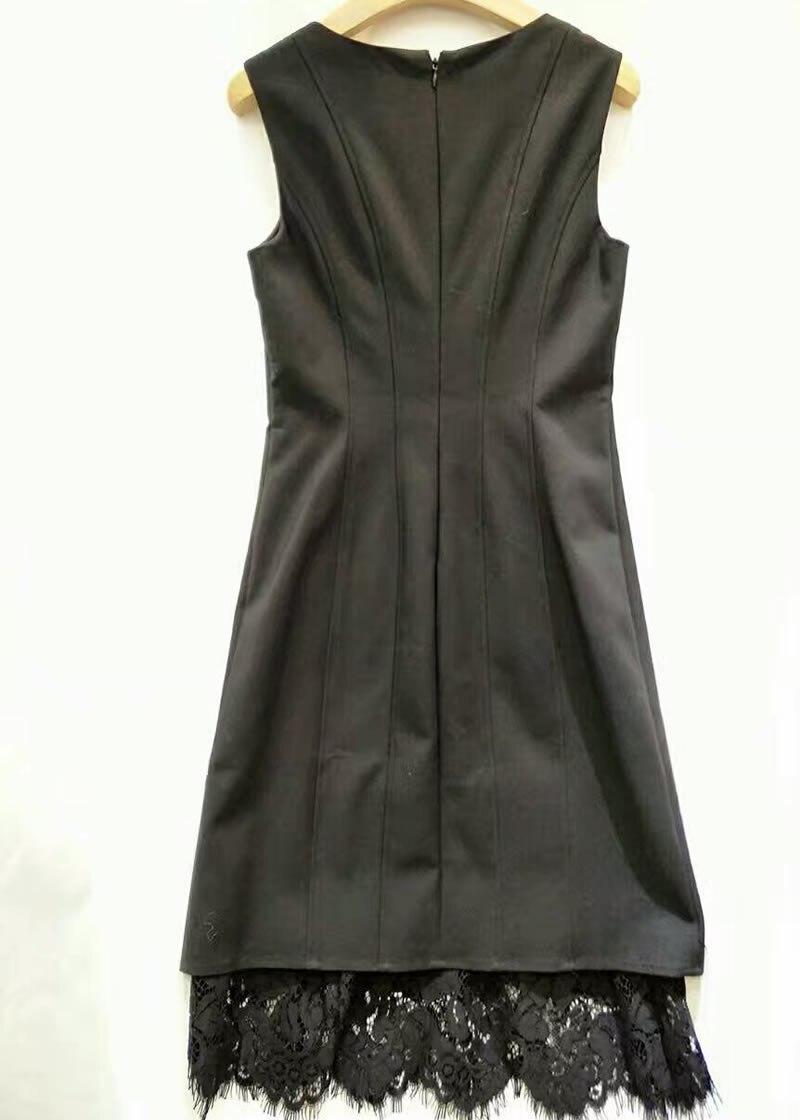 Noir Manches Sexy Femmes Sans Bak6414 Patchwork Dress Dentelle Robes qxAOa